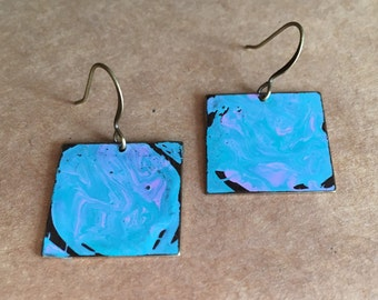 Cotton Candy Blue Hand Painted Metal Earrings, 20mm