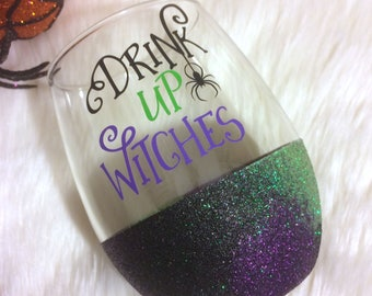 Drink Up Witches Stemless Glitter Wine Glass // Glitter Glass // Stemless Wine Glass // Drink Up Witches // Halloween // Glitter Cup