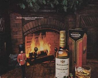 1976 Advertisement Windsor Canadian Whisky Nutcracker Retro Vintage Wall At Decor Liquor Christmas Fireplace Pub Bar Holly Mistletoe