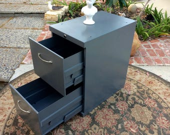 retro industrial file cabinet 1960s midcentury modern mcdowell craig norwalk ca made usa gray