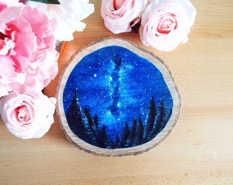 Large Milky Way Galaxy Wood Slice Acrylic Painting. Rustic Space Wooden Painting.