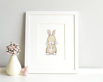 Baby Bunny, UNFRAMED Rabbit Nursery Art, Fine Art Print, for Baby's Bedroom, New Baby Gift, Baptism Gift, Christening Present