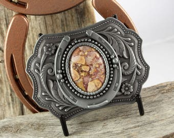Western Belt Buckle -Natural Stone Belt Buckle -Cowboy Belt Buckle -Antique Silver Tone Belt Buckle with a Natural Confetti Jasper Stone