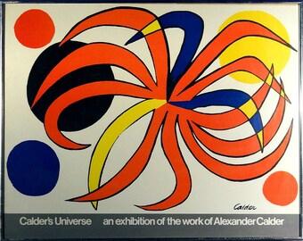 "Rare ca.1977 Famous Alexander Calder ""Calder's Universe"" Lithograph Poster w/Frame"