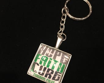 Square CP Hope Glass Pendant Key Chain