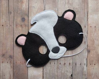 Felt Skunk Mask, Elastic Back, Black and White Acrylic Felt, Made in USA, Costume, Dress Up Animal Mask, Photo Booth Prop, Kids Mask
