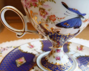 RARE - SOVEREIGN fine china teacup with butterflies, flowers and gold