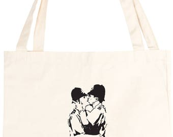 Kissing Coppers Banksy Style Cotton Tote Bag