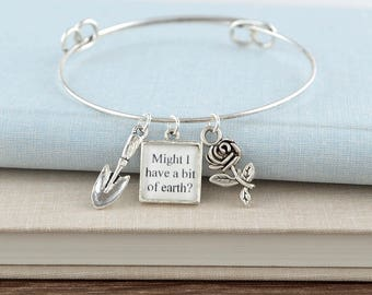 Secret Garden Book Bracelet – Silver Charm Bangle Bracelet - Secret Garden Jewelry - Gifts for Gardeners - Book Lover Gifts