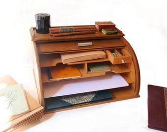 Wooden Desk Organizer with Sliding Tambour Door Rollmop Desk Organizer Mid Century Modern Desk furniture 1950s