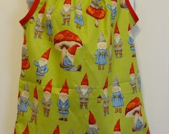 Little Gnomes Girls Pillowcase Dress, Ready to Ship Size 18-24m and Size 2, Cotton Fabric