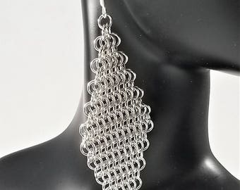 European Four-in-One Diamond Chainmaille Earrings, Handmade Chainmail Earrings,Mesh Earrings