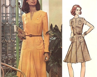 RARE Vintage Vogue Couturier Design 1960s  Valentino Designer Inverted Pleats Dress / Size 12  / UNCUT with Label  / Vogue 2855