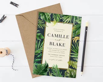 Tropical Wedding Invitation Set, Printable Destination Wedding Suite,Greenery Wreath Wedding Invite, Green Leaves, Palm Banana Leaf, Dark