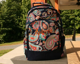 Girls Monogrammed Blue Paisley Backpack Navy Trim Personalized Bookbag