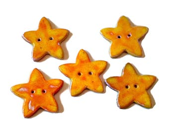 Set of 5 buttons set, yellow star butons, bulk buttons, 2 hole buttons, star button assortment, fun buttons, large clay button, five button