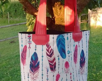 Tote designs raspberry feathers pink red blue