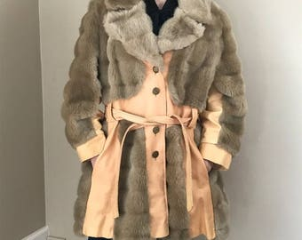 Vintage 70's Faux Fur and Faux Leather Trench Coat Peacoat
