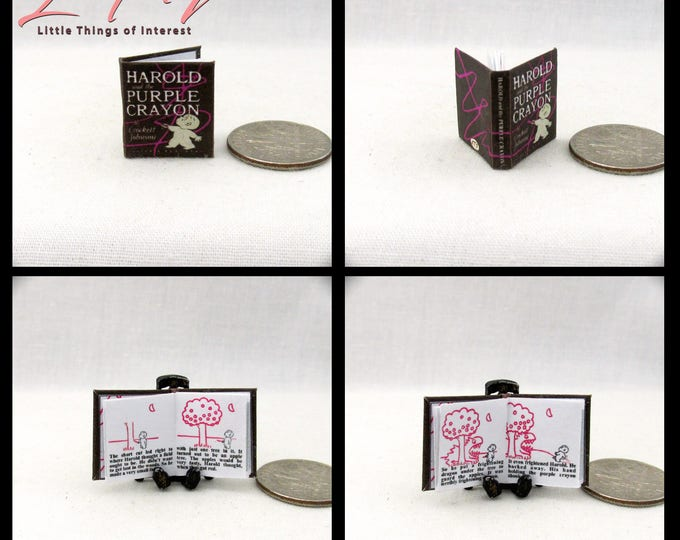 HAROLD And The PURLE CRAYON Miniature Book Dollhouse 1:12 Scale Illustrated Book Children's Book Crockett Johnson Curious Boy