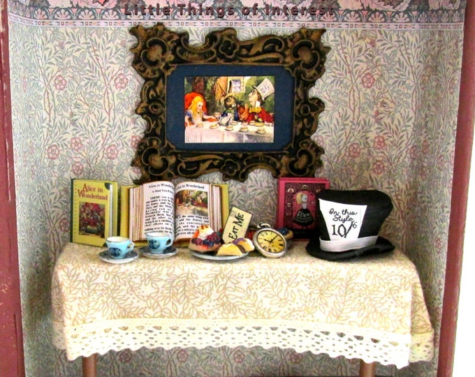 Alice in Wonderland Hidden Hollow Book Vignette Dollhouse Miniature 1:12 Scale Room Box Dollhouse Mad Hatter Tea Party Pasty Eat Drink Me