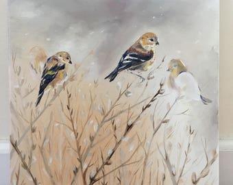 Oil Painting: Winter Birds