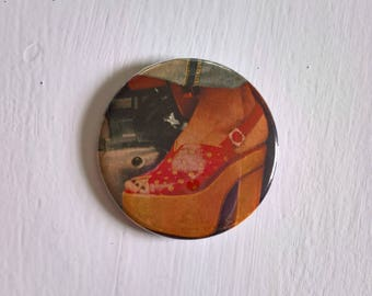 Funkytown Vintage Pinback Button --- Retro 1970's Platform Shoes Fashion Diva --- Groovy Hipster Boho Chick Accessory Pin Stocking Stuffer