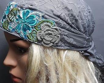 Gray Turquoise Mitpachat, Chemo Scarf, Hair Scarf, Head Scarf, Head Covering, Head Warp, Cancer Scarves, Pink Lycra Ticehl, Women Bandana