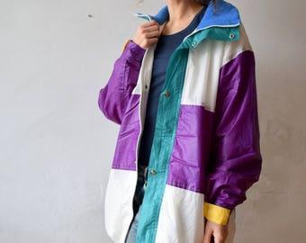 Vintage ski jacket, Colorful snow jacket, Women snow suit, Snowboarding jacket,Men winter overcoat,Winter sport jacket,Oversized jacket,L/XL