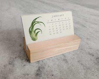 Air Plants 2018 Mini Desk Calendar with Wood Stand, Tillandsia, Monthly Calendar, stocking stuffer