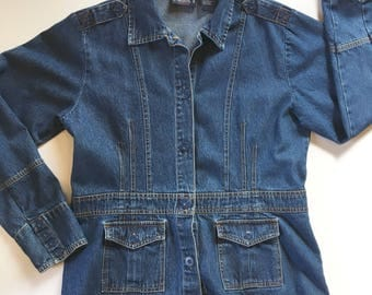 Vintage Bill Blass Jeans Wear Fitted Denim Button Front Long Jean Jacket Women's Size Medium