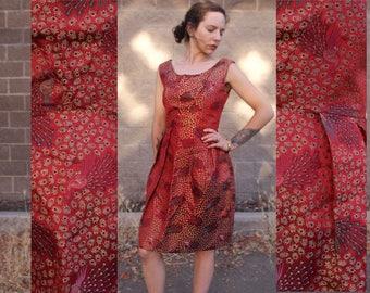 Red Peacock Silky Art Deco Dress Unique 50's 60's Vintage Scarlett Maroon Print Pattern