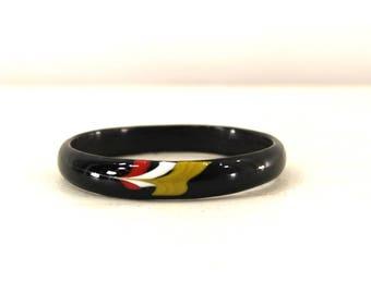 painted enamel bangle • small black bangle • black painted bracelet • small bracelet