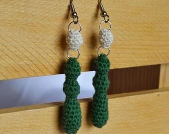 White and Green Undulating Earrings