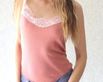 Old Rose Pink Lace Camisole Vest Lace Top with White Lace Trim