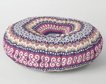 Floor Pouffe, Floor Pillow Cushion, Stuffed Pouf, Round Floor Cushions, Mandala Floor Pillow, Mandala Cushion, Indian Cushions
