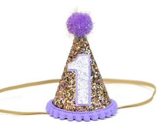 Birthday Party Hat || 1st Birthday Hat Purple  || Girl Birthday Party Hat || Birthday Party Prop || Little Blue Olive