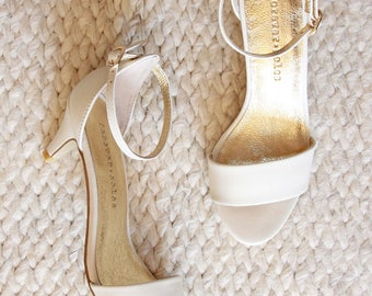 Ladies Ivory Low Heel Wedding Shoes. Low Heel Bridal Shoes, Comfortable Bridal  Shoes,