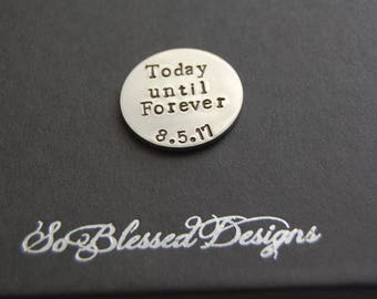 Groom gift, personalized coin, Personalized gift for groom on wedding day, Copper or nickel silver coin