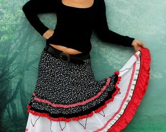 M-L White red black polka dots romantic pompom long skirt hippie boho recycled