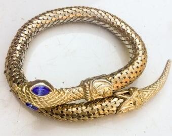 Vintage Snake bracelet. Gold. Glass eyes. Wrap bracelet. Bangle. Faux deco. gothic figural serpent bangle