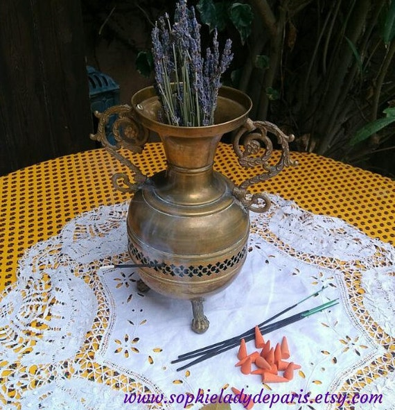 Brass Incense Burner Antique French Church Vase Incense Burner Lion Feet on Earth Dried Flowers Home Decor Collectible  #sophieladydeparis