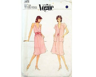 """Vogue Very Easy #7975 Sleeveless Summer Dress and Jacket Sewing Pattern Size Bust 38"""" UK 16"""
