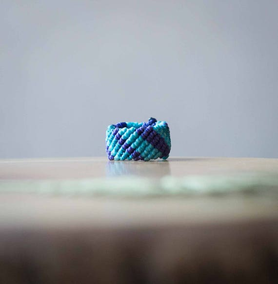 Blue ring, hippie stripes ring, elven ring, macramé ring, natural ring, micro macrame ring