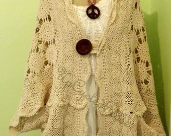 Up-cycled Re-purposed Eco Friendly Earth Wear Vintage Crochet Bohemian Art to Wear Ships FREE in USA Next day shipping