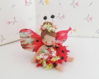 Lovely lIttle Lady Bug Fairy Miniature Whimsical  Girl
