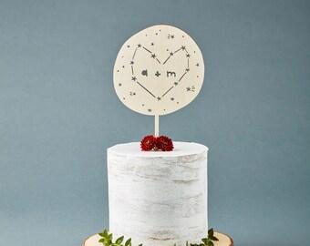 Cake Topper Custom Wedding - Constellation Heart Wedding Cake Topper - Wooden Cake Topper  - Personalized Customizable