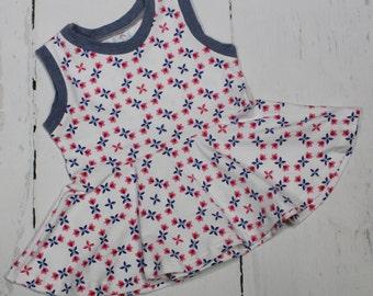 4T Floral Trellis Peplum Top, Floral Print, Girls Short Sleeve, Tank Top, Tunic, Peplum, Red, Pink and Blue Lattice Floral Top