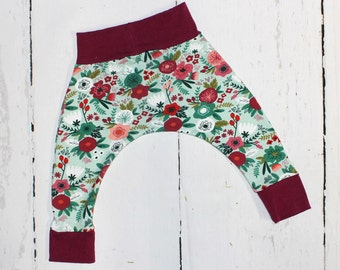 Berry Mint Floral Baby and Kids Harem Pant Leggings, Knit Harems, Leggings, Bright Flowers on Mint, Berry Trim