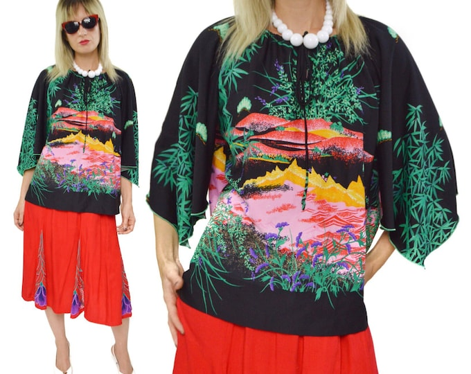 Vintage 80s Peggy Lou Tropical All Over Print Art Bell Sleeves Oversized Blouse Top