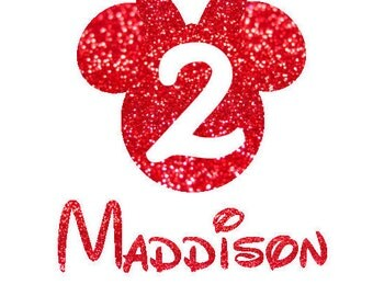 DIY Birthday Number Mouse Head Personalized Sparkly Glitter Girl Name Iron On Decal Custom Color